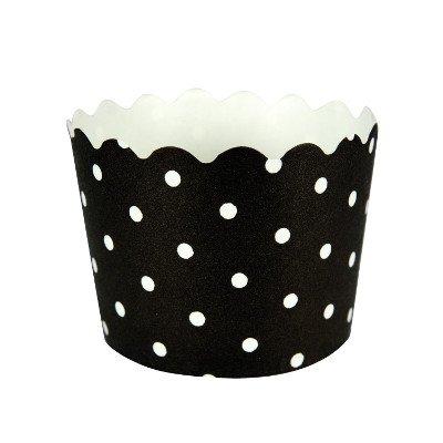 Schwarze Cupcake-Backförmchen mit Weißen Pünktchen ()