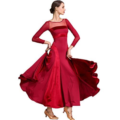 MoLiYanZi Lange Ärmel Ballsaaltanz Kleider Für Frauen Samt Mesh Modernes Nationales Standardkleid Cha Cha Röcke Performance Kostüm, S (Rock Of The Ages Kostüm)