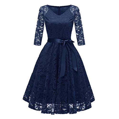 VJGOAL Damen Kleid, Hoch Qualität Damen Geschenke Vintage hübsche Prinzessin Blumenspitze Cocktail V-Ausschnitt DREI Viertel Hochzeit Cocktailparty a-line Swing Dress (Marine,38)
