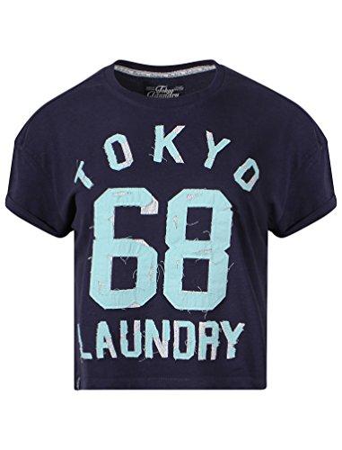Tokyo Laundry Damen Destini Kurzärmlig Roll Ärmel Bedruckt Rundhalsausschnitt T-Shirt Größen 8-16 Eklipse blau marl