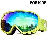 Snowledge Skibrille Kinder, Ski Goggles Kids Snowboard Brille Sphärische Doppelscheibe 100% UV-Schutzbrille Anti-Beschlag 3-Lagige Schaum für Kinder von 6-13 Jahren (Grün)