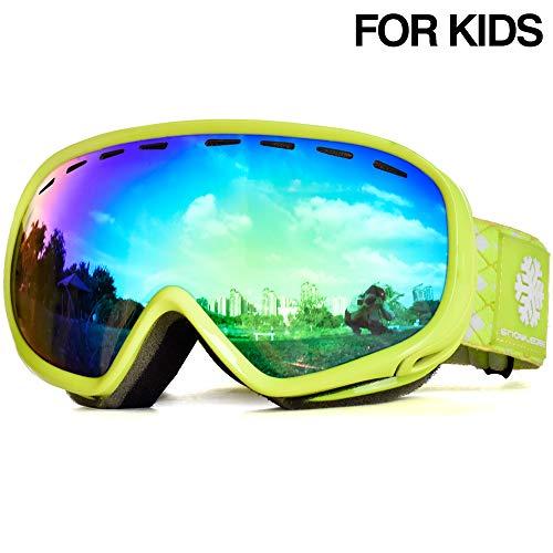 Snowledge Skibrille Kinder, Ski Goggles Kids Snowboard Brille Sphärische Doppelscheibe 100{a376e41b7689c74279fcdd7fb8bfe6b01656b77bc66606c50306f2b6408900bb} UV-Schutzbrille Anti-Beschlag 3-Lagige Schaum für Kinder von 6-13 Jahren (Grün)