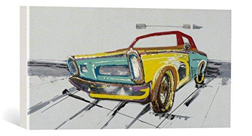 "Handgemaltes Leinwandbild: New Life Collection ""Buntes Auto I"" - handgemaltes Bild auf Keilrahmen, 70x140 cm"