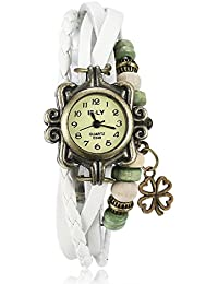 Naivo Women's Quartz Brass Plated Stainless Steel and Leather Casual Watch, Color:White (Model: NAIVO-WATCH-1184)