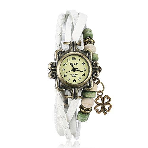 YAZILIND clásico perlas pulsera de banda de cuero de cuarzo analógico casual relojes de pulsera blanco