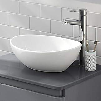 LexonElec sobre el lavabo del lavabo del lavabo moderno minimalista elegante redondo oval Cerámica blanca personalidad creativa lavabo de guardarropa se puede instalar en interiores o exteriores