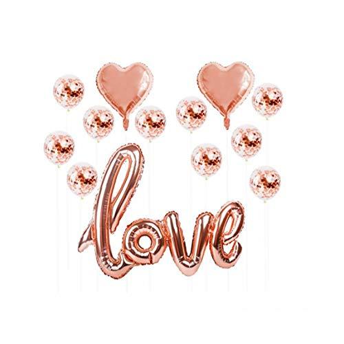 YZLSM 1set Herz Konfetti Luftballons Für Hochzeit Splendid Luft Gefüllt Foil Liebeskugeln Rose Gold Audio Rose Luftballons Hochzeit Luftballons