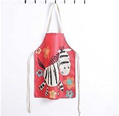 Yyanliii Spaß Schöne Cartoon Trojan Gedruckt Floral Schürze für Kind hängende Hals Ärmel Baumwolle Leinen Kind Schürze (rot)