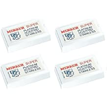Merkur Double Edge Safety Razor Blades, 10 ct. (Pack of 4) + Scunci Black Roller Pins, 18 Pcs