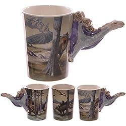 Taza de cerámica con diseño de dinosaurio de peluche mango en forma de