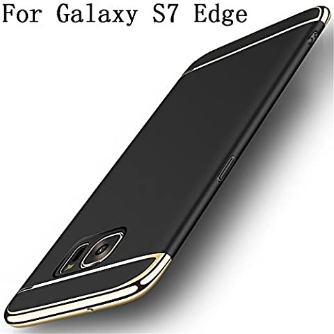 Galaxy S7 edge Case,Heyqie 3 in 1 Ultra-thin 360 Full Body Anti-Scratch Shockproof Hard PC Non-Slip Skin Smooth Back Cover Case with Electroplate Bumper for Samsung Galaxy S7 Edge G9350 - Black