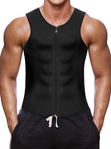 Sport Sweat Sauna Weste Abnehmen Männer Tank Top Shirt Body Shapewear (Black(Saunaweste), M) (Fett Mensch-körper-anzug)
