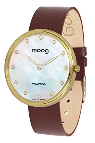 Moog Paris Mignon Women's Watch with White Mother of Pearl Dial, Brown Genuine Leather Strap & Swarovski Elements - M41681-A31