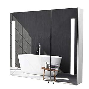 Homfa LED Spiegelschrank Bad Edelstahl Badezimmerspiegel Badspiegel Lichspiegel Wandschrank mit Beleuchtung Berührung…