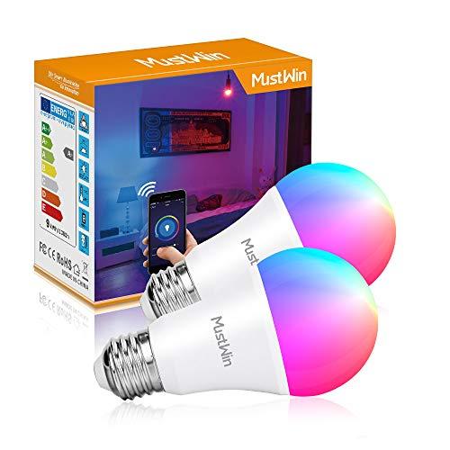 MustWin Smart Alexa Lampe 9W E27 Dimmbare Wifi Lampe Steuerbar via APP, 900LM LED Wlan Smart Birne Kompatibel mit Alexa Google Home IFTTT, Timer Funktion, Fernbedienung von IOS & Android (2 Pack)