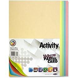 Premier Stationery - Cartulinas de actividades A4 160g/m², pastel arcoíris (paquete de 50hojas)