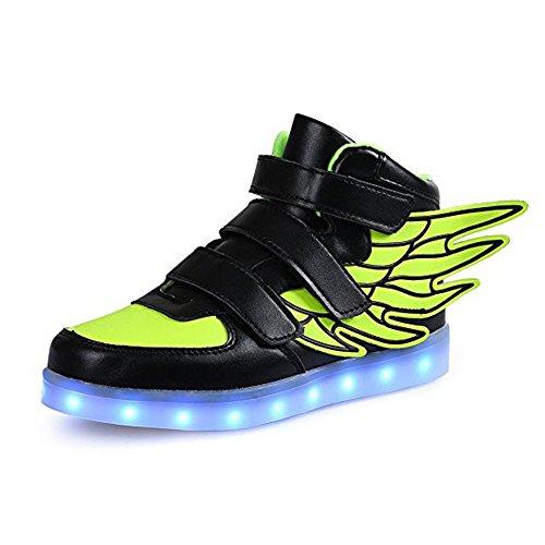 LED Flügel Engel Neon Kinderschuhe Leuchtende Sohle led Sportschuhe Mit 7 Farbe Multicolor Bunt Leuchtschuhe Unisex Jungen Mädchen Schwarz