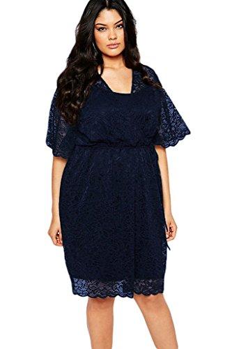 Loveours Spitze Große Größen Cocktail Kleid Partykleider Blau