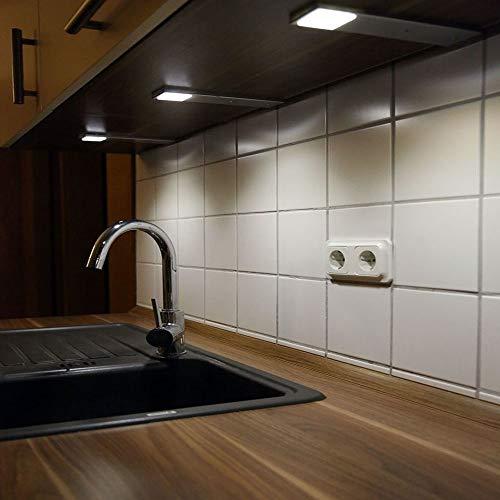 ACCE LED Unterbauleuchte Küchen Möbel Leuchte Neutralweiß inkl Konverter ein Strahler mit Schalter Energieeffizienzklasse A++ (3er Set)