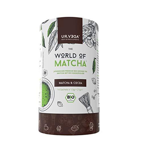 Matcha Tee mit Superfood Acai. 14 Portionen Japanisches Matcha Pulver -Biozertifiziert- Ideal für Liebhaber von grünem Tee -Perfekt für unterwegs