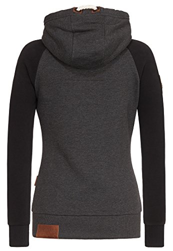 Naketano Female Zipped Jacket Mach klar jetzt Anthracite Melange - Black