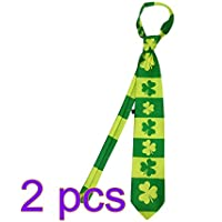 LUOEM Irische Kleeblatt-Krawatte St.Patricks Tageskostüm St.Patrick Party-Dekorations-Männer grüne Krawatten-Krawatte Feiertags-Cosplay Kostüm-Bindung