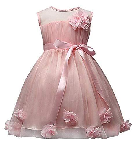 SMITHROAD Kinder Mädchen Spitzen Kleid Tüll Festlich Ärmellos mit Blumen Schleife Applikation Prinzessin Kleid 4 Farben (74/80, Rosa)
