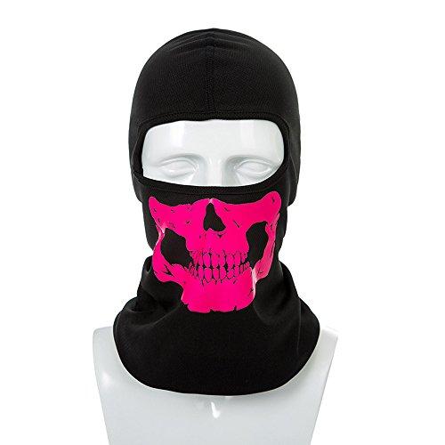 Sijueam Reflektierende Facemask UV Schutz Schädel Maske Under Helmet Balaclava Sturmhaube für Radfahren Skifahren Skelett Fullface Mask Kopfmaske Winddichte Mütze für Outdoor Aktivitäten One Size (Rosa)