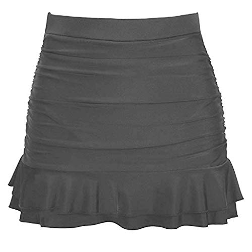 POPLY Frauen Badebekleidungs Rock Damen Hoch Taillierte Bikini-Unterteil Einfarbig Bikini Badeanzug Slips Swim Shorts Badehose mit Rüschen(Grau,XL) (Swim Xl Frauen Shorts)