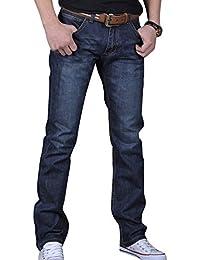 Vaqueros Recto Slim Denim Pantalones Jeans Elasticos para Hombre Negro