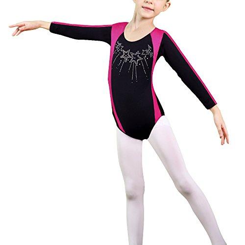 HUANQIUE Mädchen Gymnastikanzug Sportbekleidung Turnanzug Lange Ärmel Trikot Leotard Tanzkleid 12A (Heiße Mädchen Gymnastikanzug)