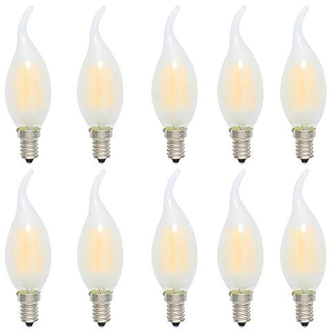 10er 4W Dimmbar C35 E14 LED Kerzenlampe Windstoß Filament Glühfaden Fadenlampe Lampe Birne,Matt Glas,Ersetzt 35 Watt,300 Lumen, 2700K Warmweiß,360°Abstrahlwinkel, AC 220V