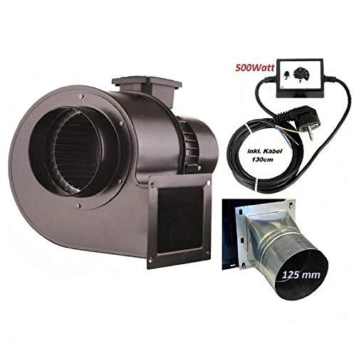 Industrie Radial Gebläse OB200M mit 500 Watt Drehzahlregler und 4 eck-rund Flansch, Zentrifugal Saugventilator, Radialgebläse