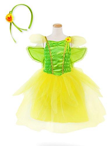 IKALI Feenkostüm Mädchen Kinder, Verkleiden Prinzessin Tüll Kleid mit Flügeln, Tinkerbell Peter Elfen Karneval Verkleidung, Magische Pixie Mesh Rock Garden Tutu