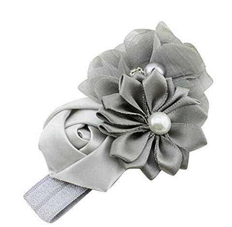 Bandeau bébé Elyseesen Bébé fille fleur fleur perle bande serre-tête Hairband accessoires pour cheveux (Gris)