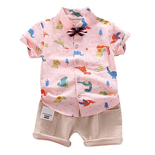 Baby Kleidung Set Kolylong® Junge Cartoon Dinosaurier Druck Kurzarm Hemd mit Fliege + Shorts mit Tasche Fliege Krawatte Anzug 2tlg Taufe Outfit Gentleman Bekleidungssets 1-5 Jahre