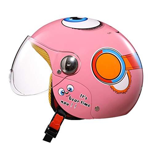 Wxad casco moto per bambini cute cartoon hard hat ragazzi e ragazze four seasons half helmet, (color : pink bear)