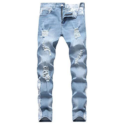 Xmiral Jeans Uomo Slim Fit Denim strappato strappato Distrutto Pantaloni in Denim con Cerniera a Foro Ricamato Nuova personalità della Moda (42,4- Azzurro)