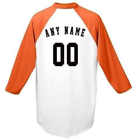 personnalisée (n'importe quel nom et/ou Numéro) raglan manches 3/4coloré Baseball/softball en jersey pour homme (Jeunesse et adulte), femme Homme, Orange Sleeves