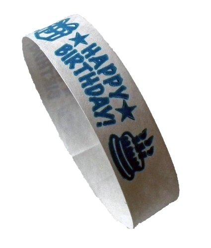 100 Stück Tyvek-Kontrollbänder bedruckt mit Happy Birthday (neonblau)