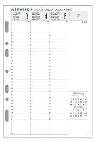 Exacompta 28272E Recharge Organiseur pour Exatime 21 Semainier Millésimé 1 Semaine sur 2 Pages à la Verticale Papier Blanc Jan à Déc Année 2018