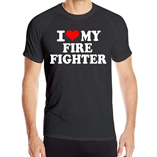 FAVIBES Ich Liebe Meine Feuerwehrmann Männer Kurzarmhemden Schnelltrocknende Trainingsoberteile, Größe XL