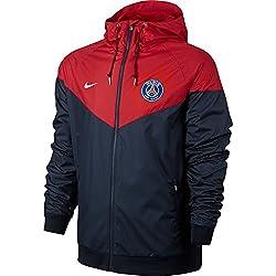 Nike NSW WR WVN AUT Veste Paris-Saint Germain pour Homme S Bleu (Bleu Marine Minuit/Rouge université/Blanc)