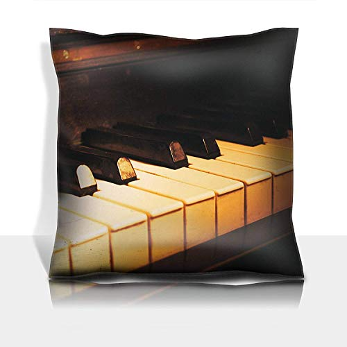se Cotton Satin Comfortable Decorative Soft Pillow Covers Protector Sofa 18x18 1 Pack Old Piano Keyboard Close up as a Music Background with scratc ()