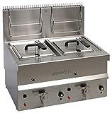 Friggitrice a gas da 20 litri in acciaio inox modello CASSELIN CFG102 con valvola di scarico Potenza 13.000 W gas