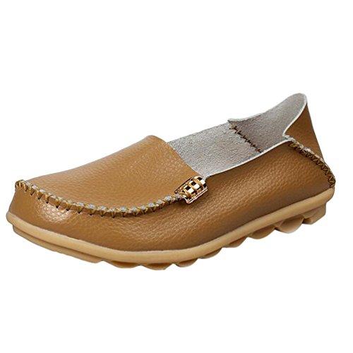 Heheja Damen Freizeit Flache Schuhe Low-top Mokassin Loafers Fahren Schuhe Khaki