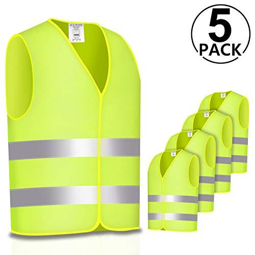 PAMIYO 5 Stück Warnweste Auto Reflektierende Sicherheitsweste 360 Grad Reflektierende Streifen und Klettverschluss für Fahrern und Arbeitskräften mit Hohem Risiko-Neon Gelb