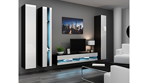 BMF VIGO NEW VII WALL UNIT IN MATT & HIGH GLOSS TV CABINET - BLACK/WHITE