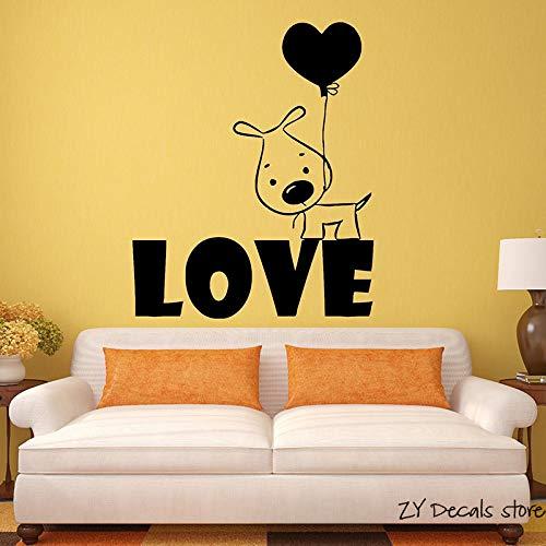 Welpen Liebe Hund Wandtattoos Ballon Romantisches Geschenk Vinyl Wand S Abnehmbare Kunstwand Home Decortion Haustiere Hunde Tapete56x68 cm