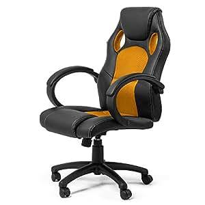 MY SIT Chaise de bureau Siége de bureau Fauteuil Réglable Racing Gaming Sport Gold avec Accoudoir